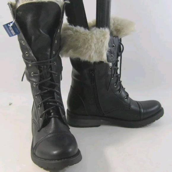 super cheap best sale new items Tall Black Winter Combat Boots